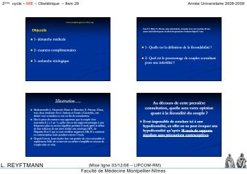 L. REYFTMANN - Faculté de médecine de Montpellier