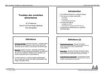 Troubles des conduites alimentaires Introduction - Faculté de ...