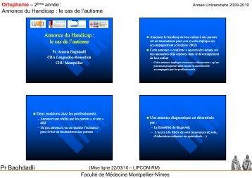 Annonce du Handicap - Faculté de médecine de Montpellier