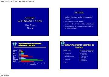 ASTHME de l'ENFANT > 5 ANS