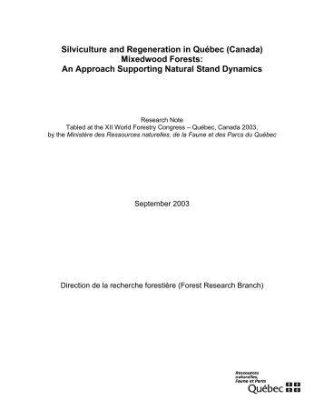 Mixedwood Forests - Ministère des Ressources naturelles