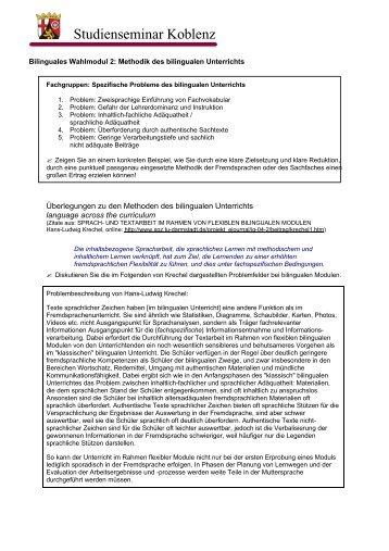 2. Modul - Arbeitsblatt Methodik nach Krechel