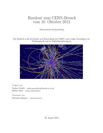 Handout zum CERN-Besuch vom 10. Oktober ... - studienstiftung.ch