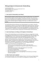 Bildungsstrategie - Schweizerische Studienstiftung