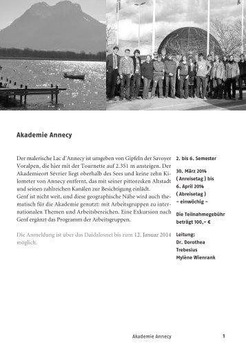 Akademie Annecy - Schweizerische Studienstiftung