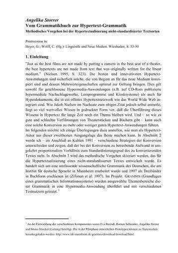 Angelika Storrer Vom Grammatikbuch zur Hypertext ... - StudiGer