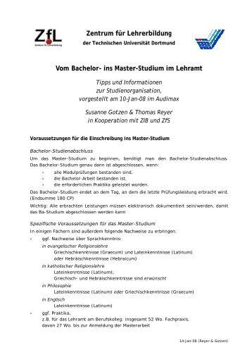 Vom Bachelor- ins Master-Studium im Lehramt - StudiGer - TU ...