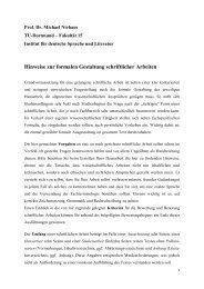 Hinweise zur formalen Gestaltung schriftlicher Arbeiten