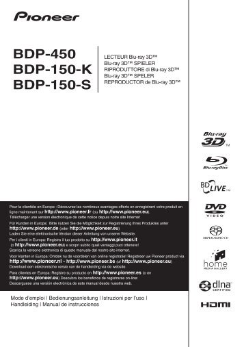 Pioneer BDP-450 Manual - Studio 22
