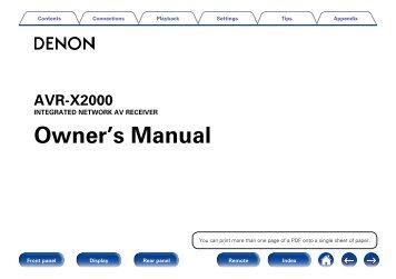 Denon AVR-X2000 Manual.pdf - Audio Products Australia