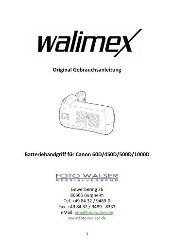 Original Gebrauchsanleitung Batteriehandgriff für ... - Studioexpress