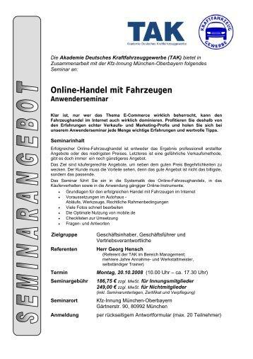 """Seminar """"Online-Handel mit Fahrzeugen"""" - Kfz-Innung"""