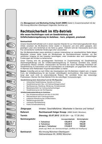 "Seminar ""Rechtssicherheit im Kfz-Betrieb"" - Kfz-Innung"