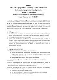 Lehramt an Gymnasien - Studium - Universität Oldenburg