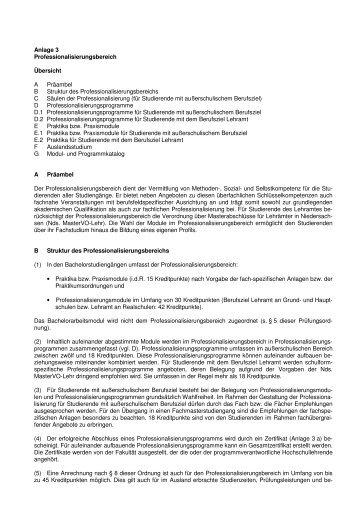 Anlage 3 Professionalisierungsbereich Übersicht A Präambel B ...