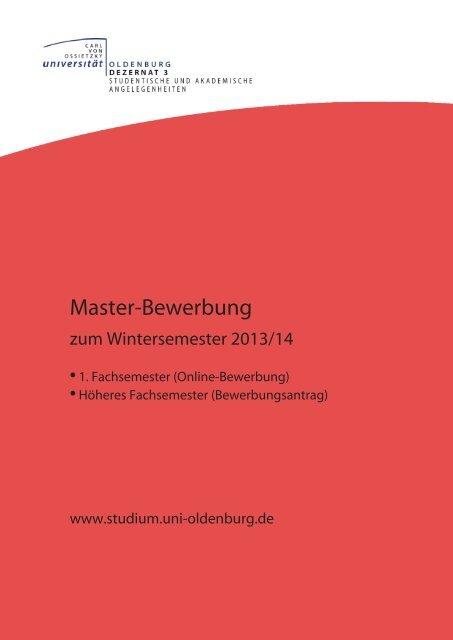 Master-Bewerbung - Studium - Universität Oldenburg