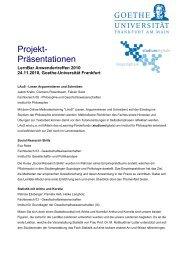 Projekt- Präsentationen - studiumdigitale - Goethe-Universität