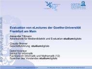 Evaluation von eLectures der Goethe-Universität Frankfurt am Main ...