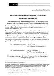 Merkblatt zum Studienplatztausch / Pharmazie - Studierendenservice