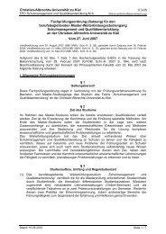 Fachprüfungsordnung - Christian-Albrechts-Universität zu Kiel