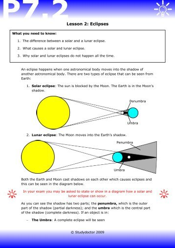 Open lesson 2: Eclipses worksheet - Lesson 1