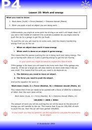 Open lesson 10: Work and energy worksheet