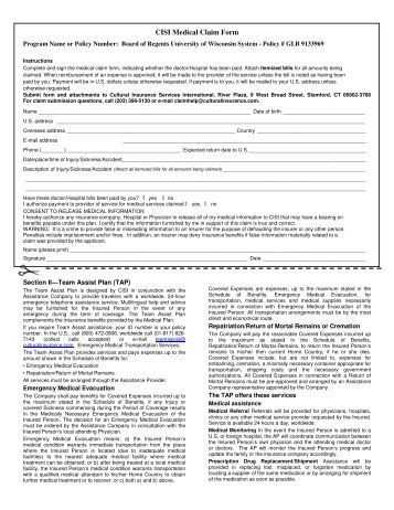 Medical Claim Form - Au Pair In America
