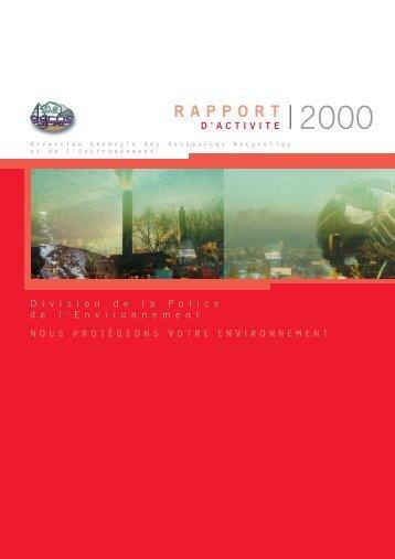 Rapport d'activité 2000 - Portail environnement de Wallonie