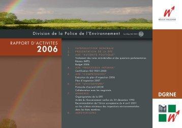 (DPE) - rapport d'activité 2006 - Portail environnement de Wallonie