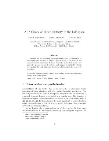 theory of linear elasticity in the half-space - Université de Pau et des ...