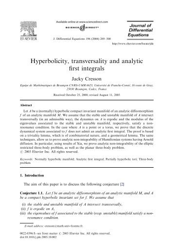 Hyperbolicity, transversality and analytic first integrals