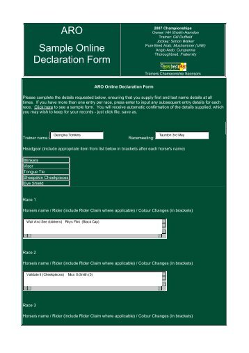 ARO Sample Online Declaration Form - ARO Racing