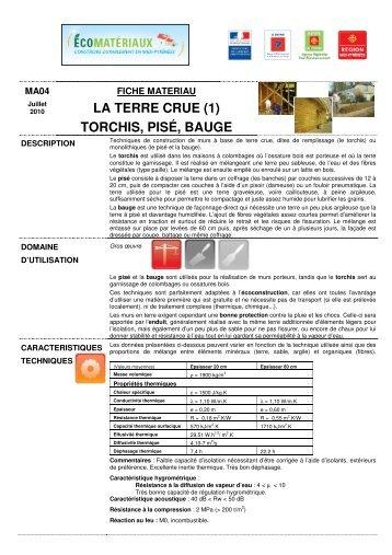 LA TERRE CRUE (1) TORCHIS, PISÉ, BAUGE - Fichier PDF