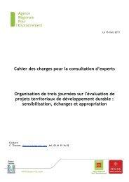 Cahier des charges pour la consultation d'experts ... - Arpe