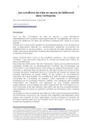 Les conditions de mise en œuvre du télétravail dans l ... - Arpe
