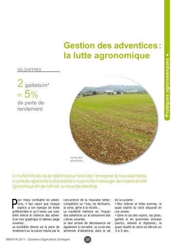 Gestion des adventices - Chambre d'Agriculture de la Dordogne