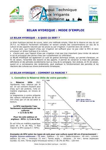 Restriction hydrique - Chambre agriculture emploi ...