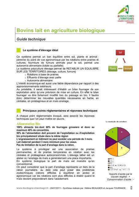Bovins lait en agriculture biologique chambre d - Chambre d agriculture de la mayenne ...