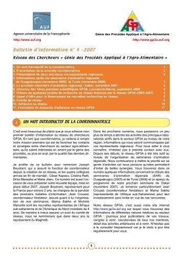 Bulletin n°4 - Génie des procédés appliqué à l'agro-alimentaire - AUF