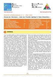 bulletin GP3A n02 - Génie des procédés appliqué à l'agro ...