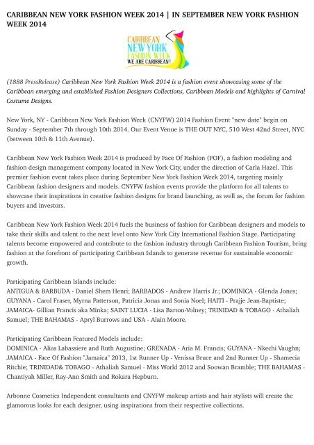 Caribbean New York Fashion Week 2014 In September New York Fashion Week 2014