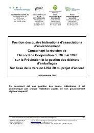 Position des quatre fédérations - Inter-Environnement Wallonie