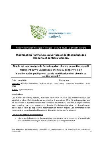 Fiche Info modification des voies vicinales - Inter-Environnement ...