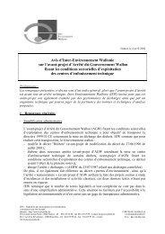 Avis d'Inter-Environnement Wallonie sur l'avant-projet d'Arrêté du ...