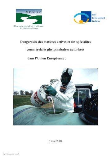 Dangerosité des matières actives et des spécialités ... - Pesticides