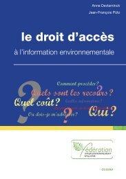 Le droit d'accès à l'information environnementale - Inter ...