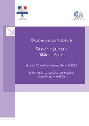 Dossier de candidature Session « Jeunes » Rhône - Alpes - inhesj