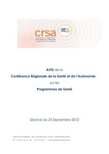 Avis de la CRSA sur les programmes de santé 25/09/2012 - ARS ...