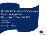 Surveillance du risque d'arbovirose en France métropolitaine Bilan ...
