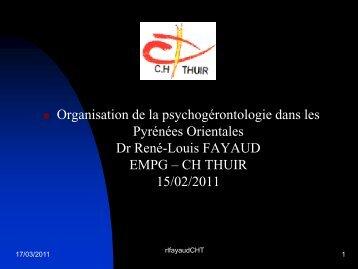 Organisation de la psychogérontologie dans les Pyrénées Orientales